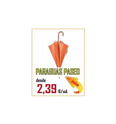 PARAGUAS DE PASEO MANGO MADERA CURVO MANUAL 107 CM DIAMETRO